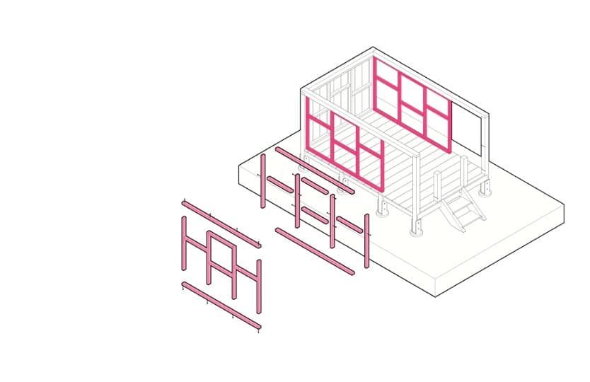 So werden die Wände des Spielhauses gebaut.
