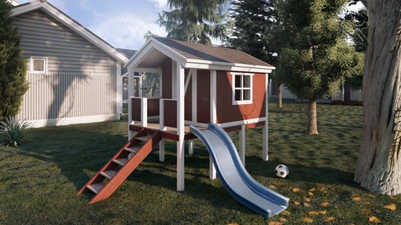 Spielhaus mit Rutsche und Leiter.