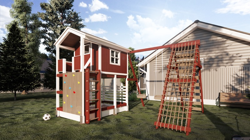 Ein Spielhaus mit Kletterwand und Schaukel.