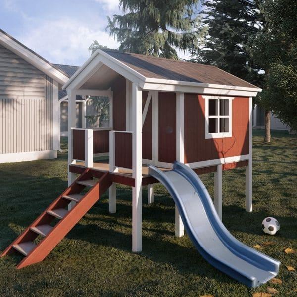 Ein perfektes Spielhaus selbst gebaut - mit Rutsche.