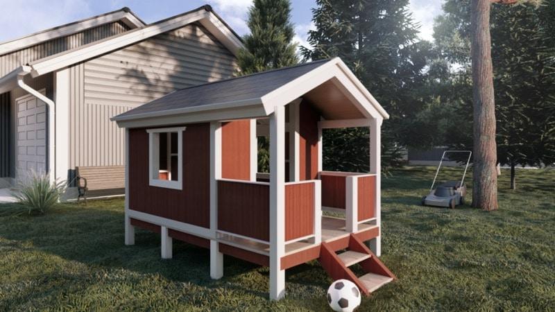 Ein fertiges Spielhaus für die Kinder.